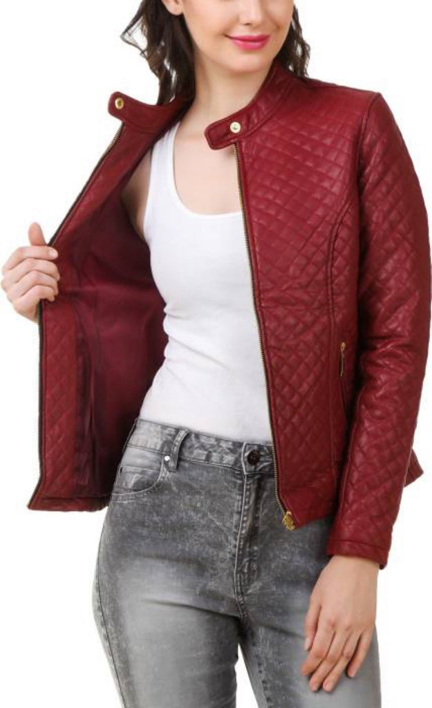 Biker / Motorcycle Jacket - Women Real Lambskin Leather Biker Jacket KW384 - Koza Leathers