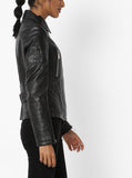 Biker / Motorcycle Jacket - Women Real Lambskin Leather Biker Jacket KW564 - Koza Leathers