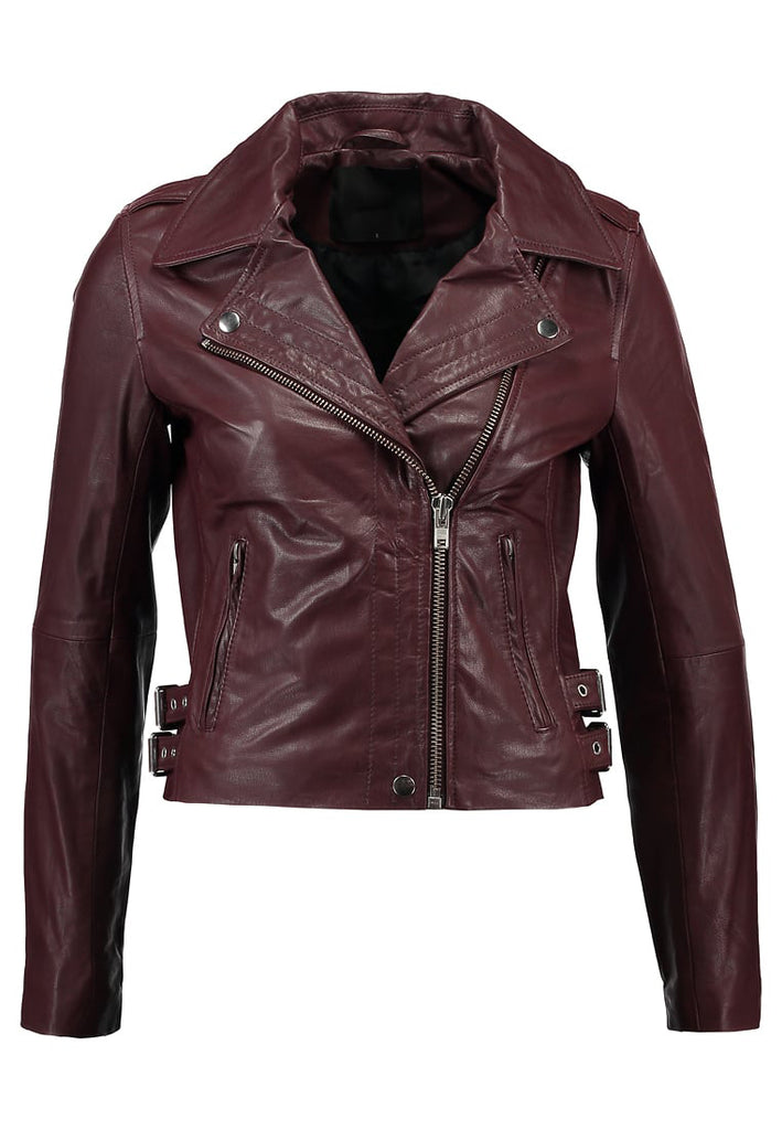 Biker / Motorcycle Jacket - Women Real Lambskin Leather Biker Jacket KW196 - Koza Leathers