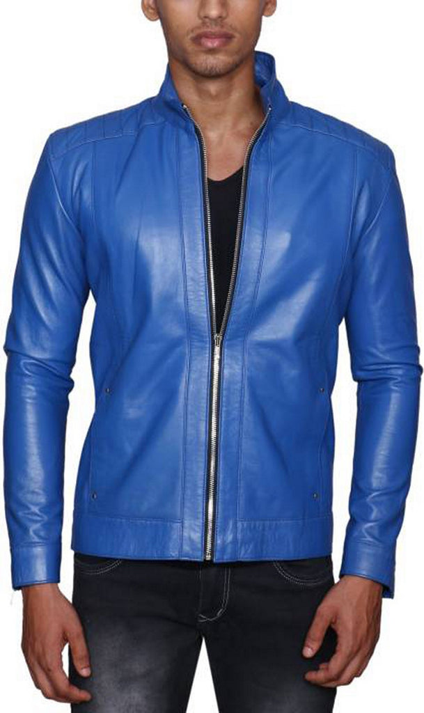 Biker Jacket - Men Real Lambskin Motorcycle Leather Biker Jacket KM501 - Koza Leathers