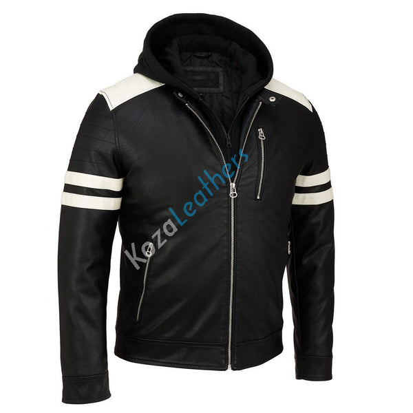 Biker Jacket - Men Real Lambskin Motorcycle Leather Biker Jacket KM222 - Koza Leathers