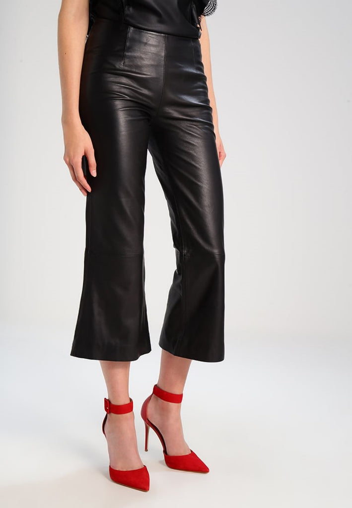 Koza Leathers Women's Real Lambskin Leather Capri Pant WP050