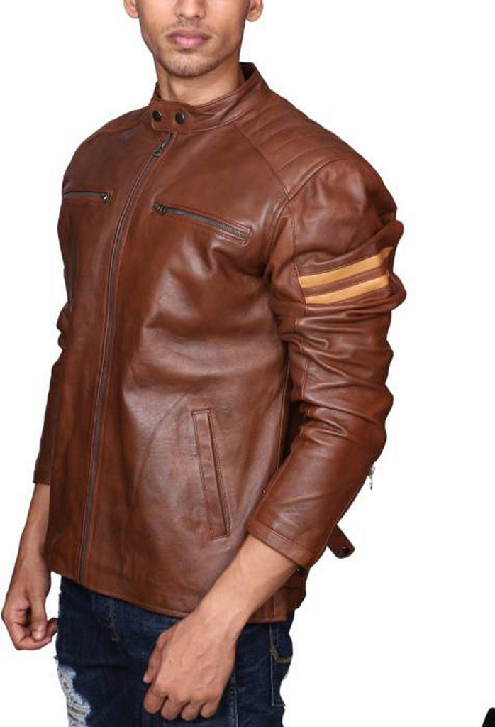 Biker Jacket - Men Real Lambskin Motorcycle Leather Biker Jacket KM504 - Koza Leathers