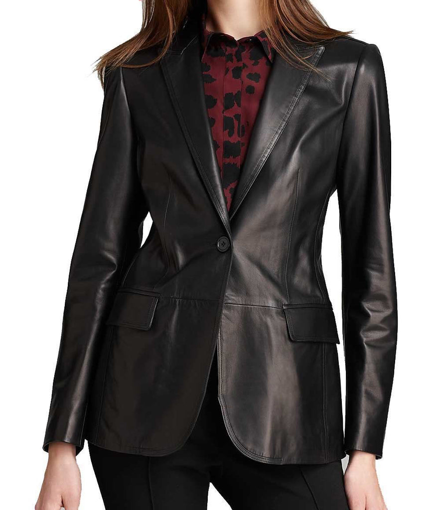 Koza Leathers Women's Real Lambskin Leather Blazer BW025
