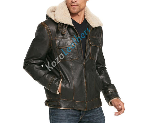 Koza Leathers Men's Genuine Lambskin Bomber Leather Jacket NJ004