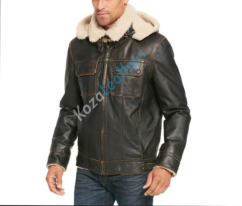 Biker Jacket - Men Real Lambskin Motorcycle Leather Biker Jacket KM155 - Koza Leathers