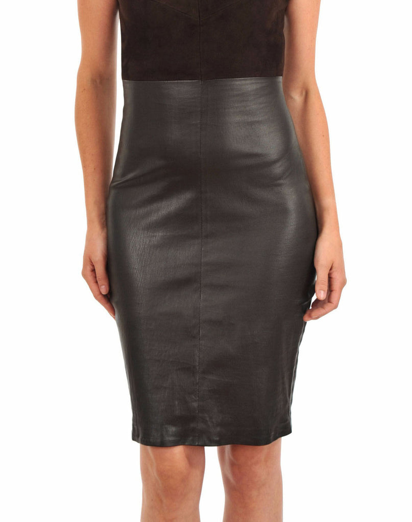 Knee Length Skirt - Women Real Lambskin Leather Slim Fit Skirt WS052 - Koza Leathers