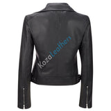 Women Real Lambskin Leather Biker Jacket KW104