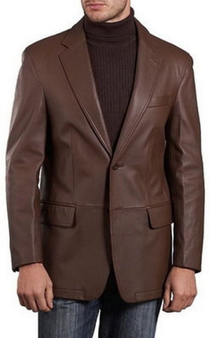 Leather Blazer - Men Real Sheepskin Leather Blazer KB003 - Koza Leathers