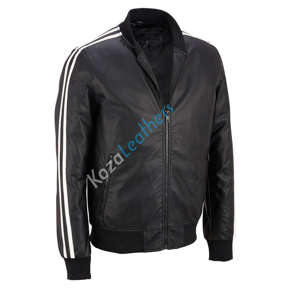 Biker Jacket - Men Real Lambskin Motorcycle Leather Biker Jacket KM224 - Koza Leathers