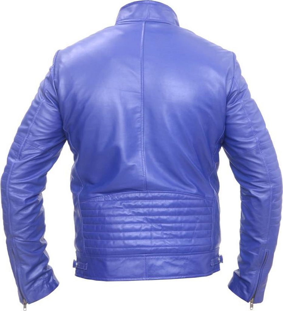 Biker Jacket - Men Real Lambskin Motorcycle Leather Biker Jacket KM508 - Koza Leathers