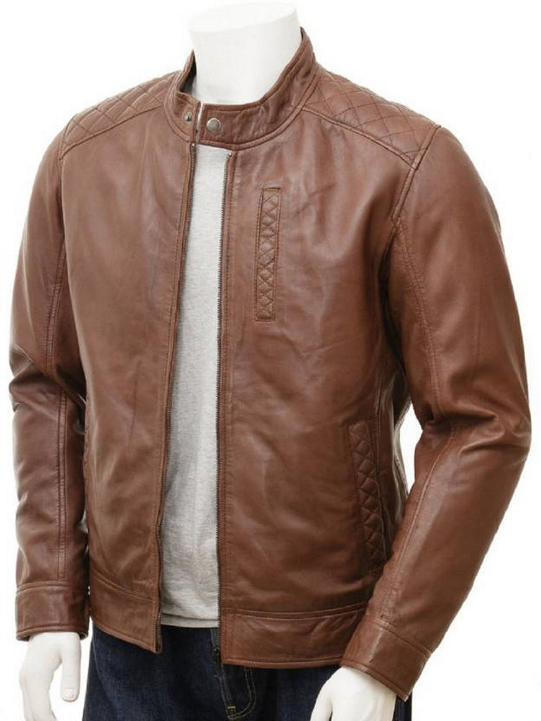 Biker Jacket - Men Real Lambskin Motorcycle Leather Biker Jacket KM513 - Koza Leathers