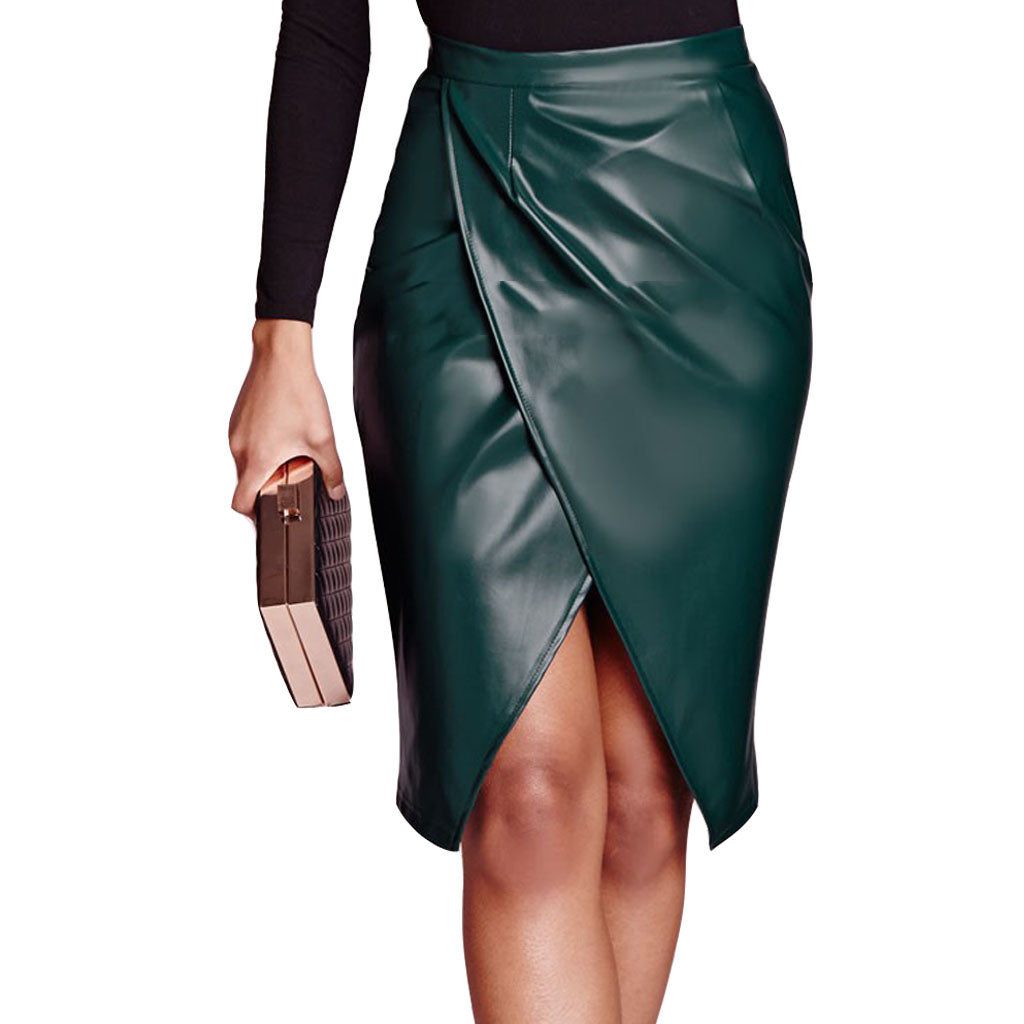 Knee Length Skirt - Women Real Lambskin Leather Knee Length Skirt WS148 - Koza Leathers