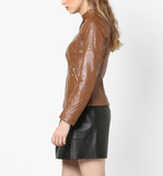 Biker / Motorcycle Jacket - Women Real Lambskin Leather Biker Jacket KW566 - Koza Leathers