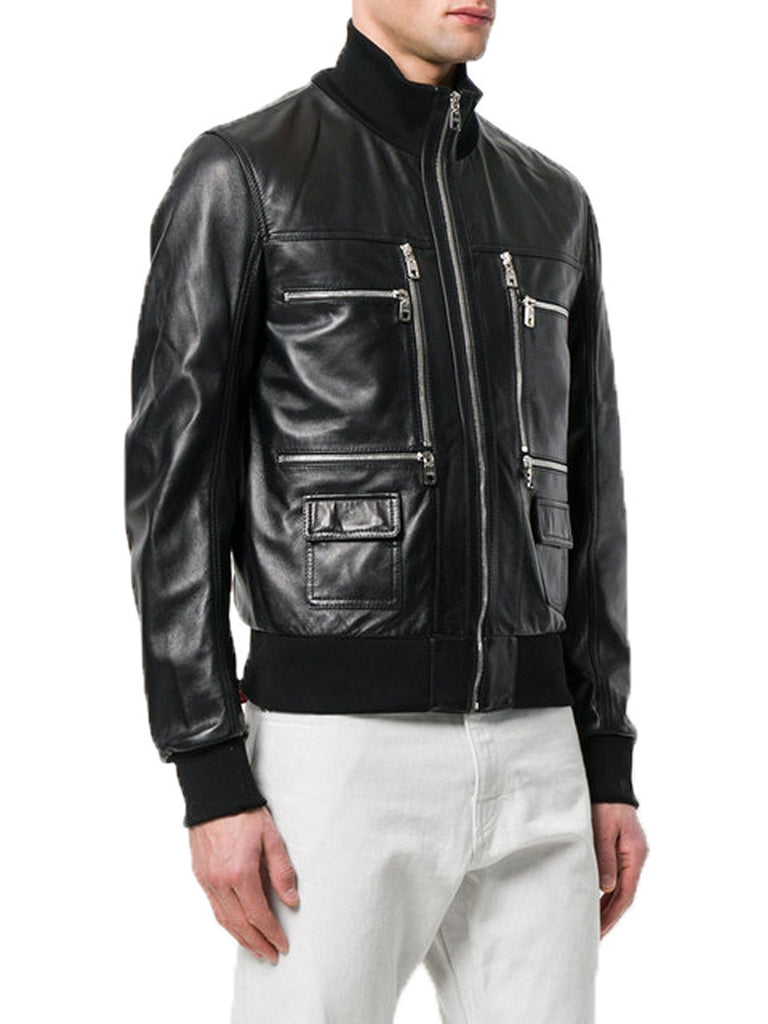 Biker Jacket - Men Real Lambskin Motorcycle Leather Biker Jacket KM366 - Koza Leathers