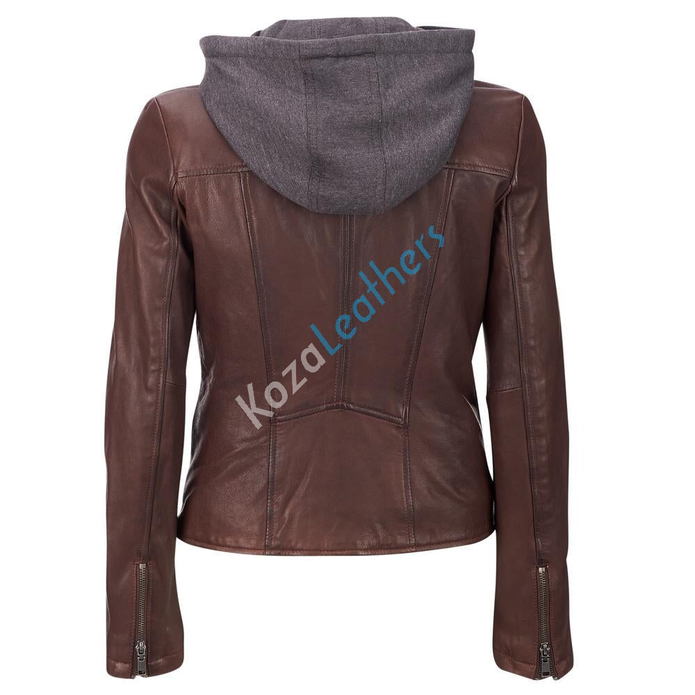 Biker / Motorcycle Jacket - Women Real Lambskin Leather Biker Jacket KW105 - Koza Leathers