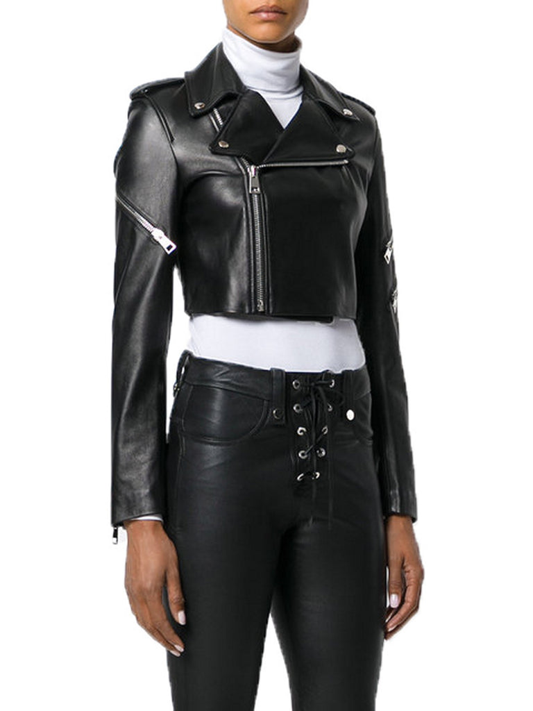 Biker / Motorcycle Jacket - Women Real Lambskin Leather Biker Jacket KW551 - Koza Leathers