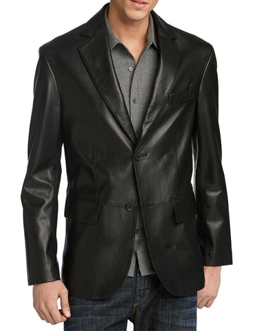 Leather Blazer - Men Real Sheepskin Leather Blazer KB004 - Koza Leathers
