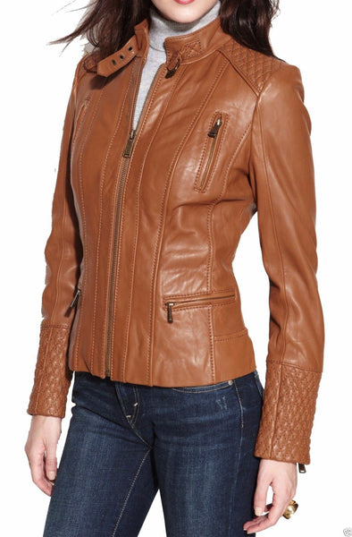 Biker / Motorcycle Jacket - Women Real Lambskin Leather Jacket KW004 - Koza Leathers