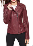 Women Real Lambskin Leather Biker Jacket KW021