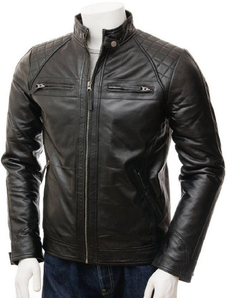 Biker Jacket - Men Real Lambskin Motorcycle Leather Biker Jacket KM518 - Koza Leathers