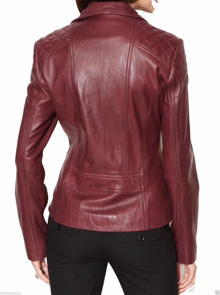 Biker / Motorcycle Jacket - Women Real Lambskin Leather Biker Jacket KW021 - Koza Leathers