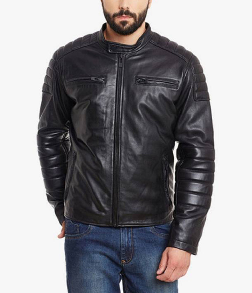 Biker Jacket - Men Real Lambskin Motorcycle Leather Biker Jacket KM519 - Koza Leathers