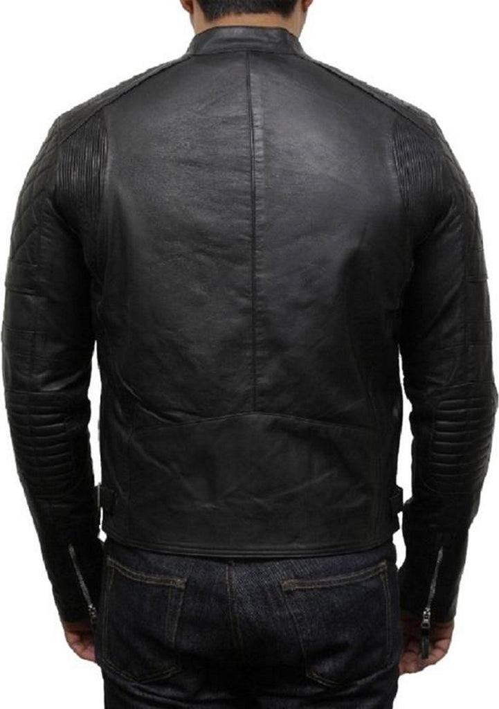 Biker Jacket - Men Real Lambskin Motorcycle Leather Biker Jacket KM520 - Koza Leathers