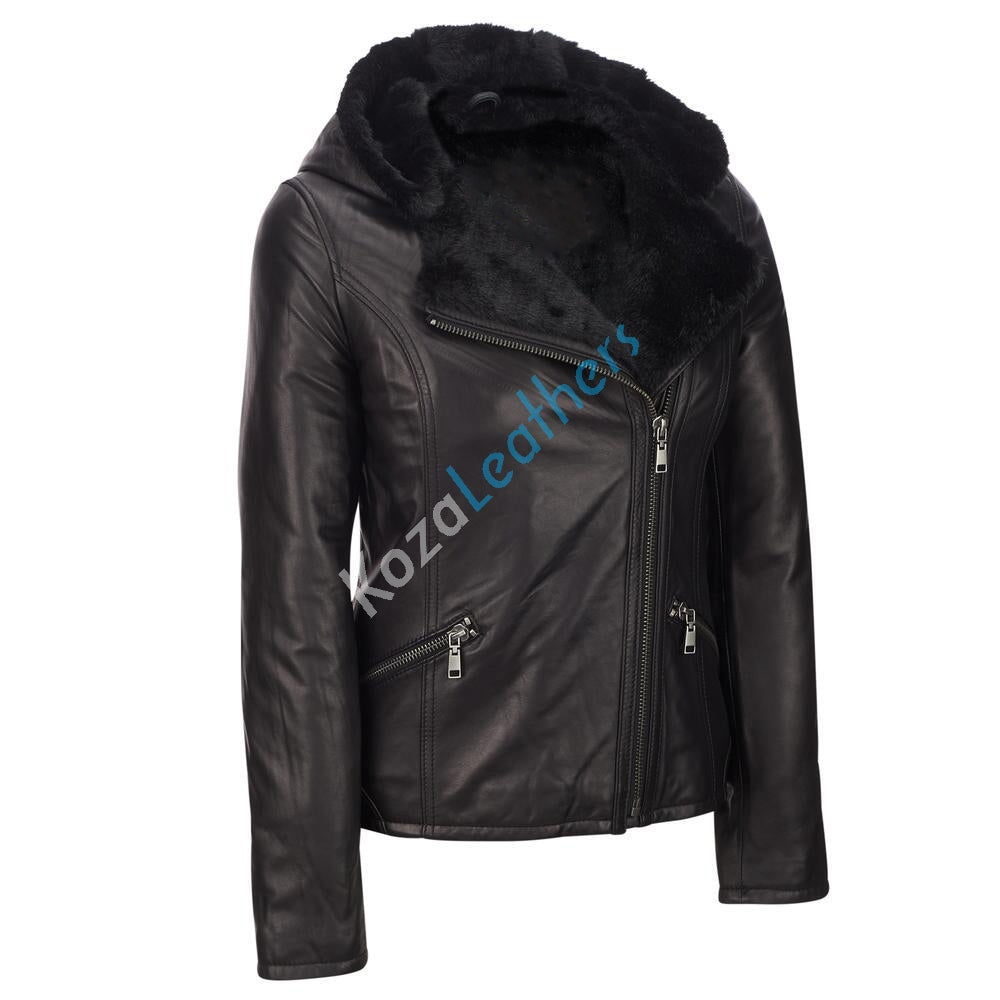 Biker / Motorcycle Jacket - Women Real Lambskin Leather Biker Jacket KW106 - Koza Leathers