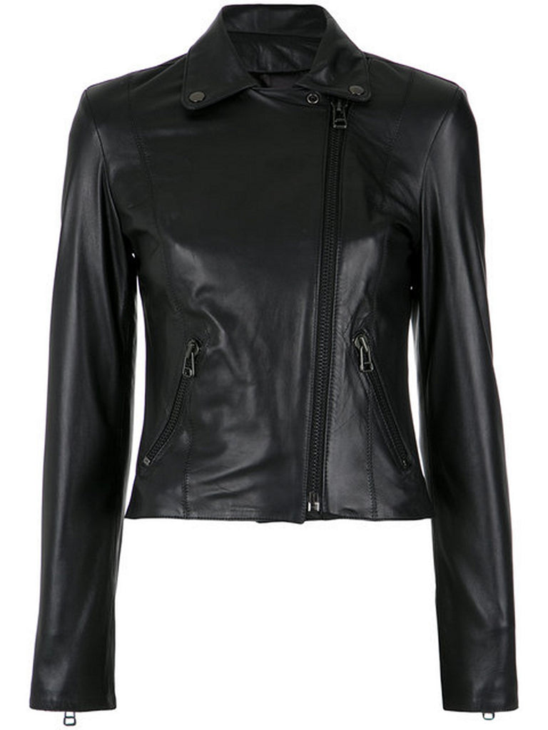 Biker / Motorcycle Jacket - Women Real Lambskin Leather Biker Jacket KW552 - Koza Leathers