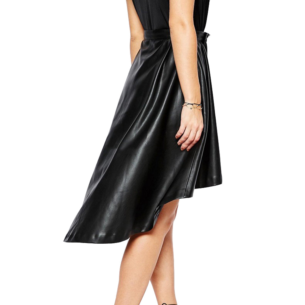 Knee Length Skirt - Women Real Lambskin Leather Knee Length Skirt WS149 - Koza Leathers