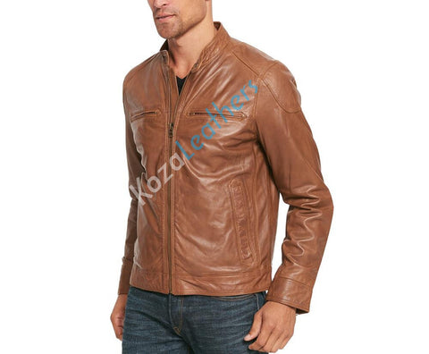 Koza Leathers Men's Genuine Lambskin Bomber Leather Jacket NJ010