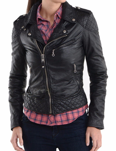Women Real Lambskin Leather Biker Jacket KW022
