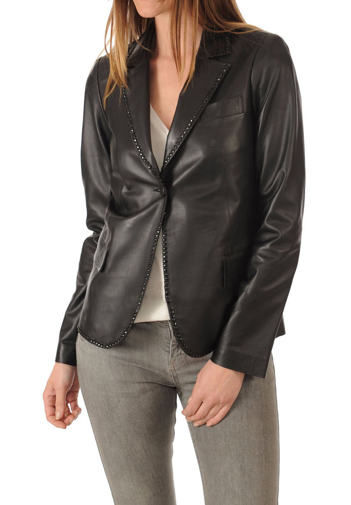 Koza Leathers Women's Real Lambskin Leather Blazer BW034
