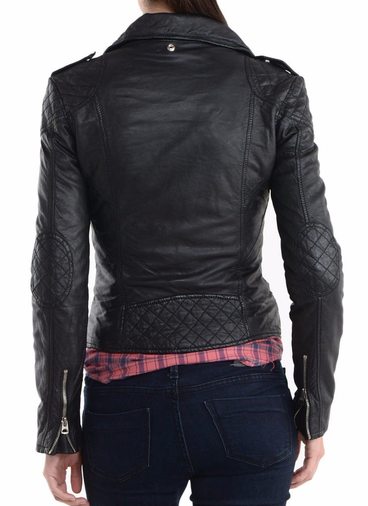 Biker / Motorcycle Jacket - Women Real Lambskin Leather Biker Jacket KW022 - Koza Leathers