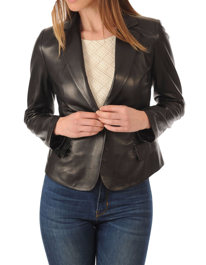 Koza Leathers Women's Real Lambskin Leather Blazer BW037