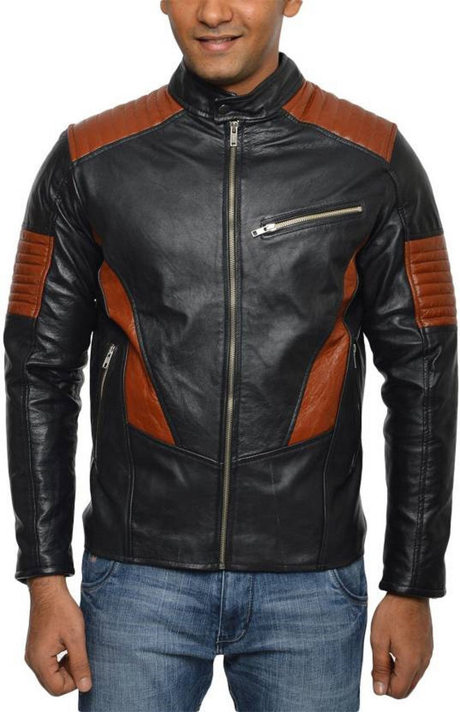 Biker Jacket - Men Real Lambskin Motorcycle Leather Biker Jacket KM528 - Koza Leathers