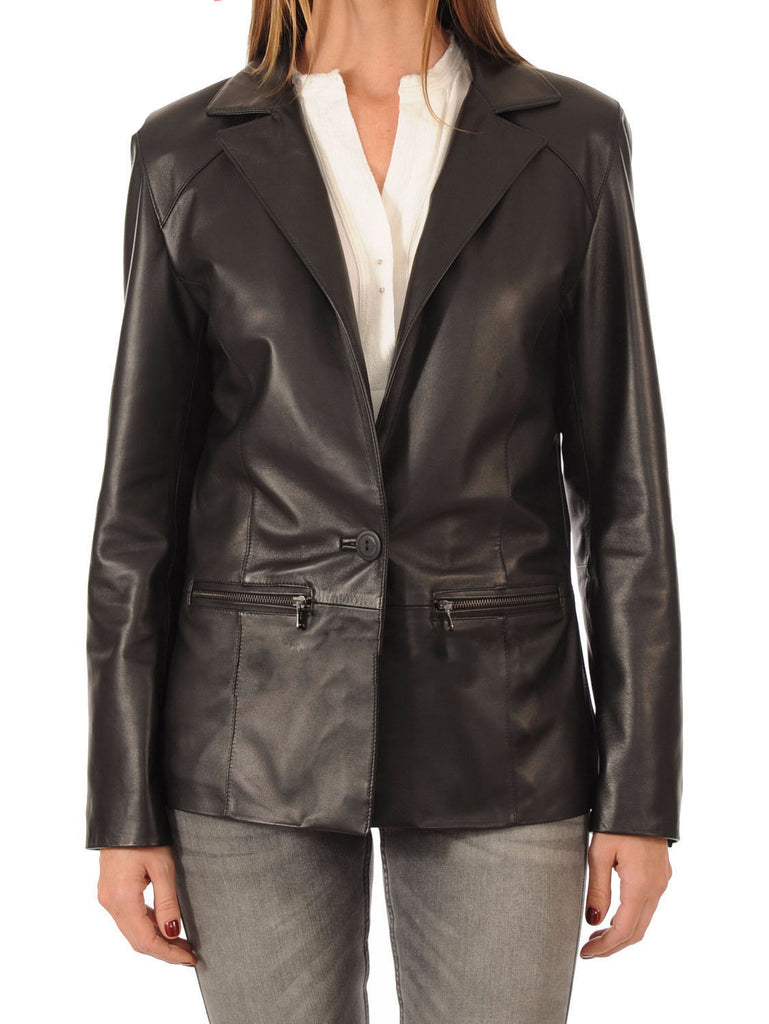 Koza Leathers Women's Real Lambskin Leather Blazer BW041
