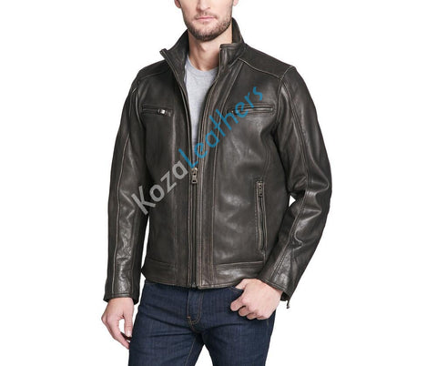 Koza Leathers Men's Genuine Lambskin Bomber Leather Jacket NJ011