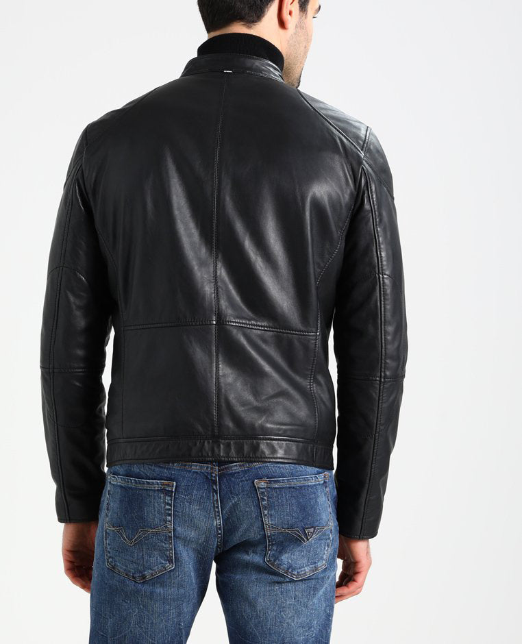 Biker Jacket - Men Real Lambskin Motorcycle Leather Biker Jacket KM243 - Koza Leathers