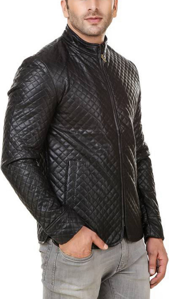 Biker Jacket - Men Real Lambskin Motorcycle Leather Biker Jacket KM535 - Koza Leathers