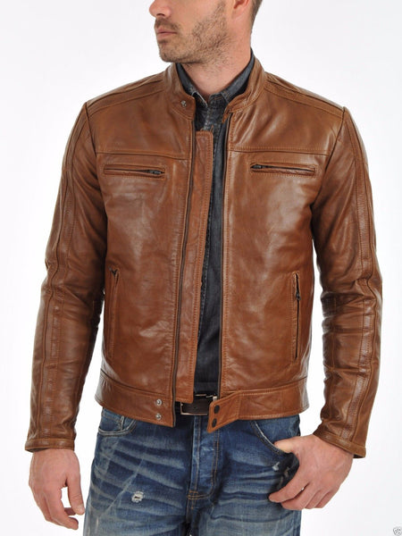 Biker Jacket - Men Real Lambskin Leather Jacket KM010 - Koza Leathers