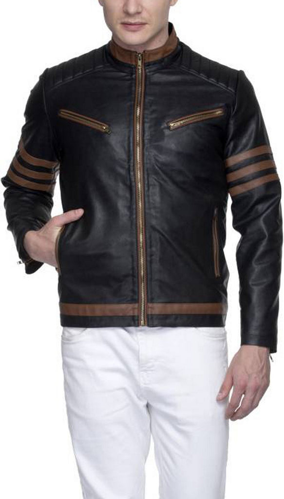 Biker Jacket - Men Real Lambskin Motorcycle Leather Biker Jacket KM539 - Koza Leathers