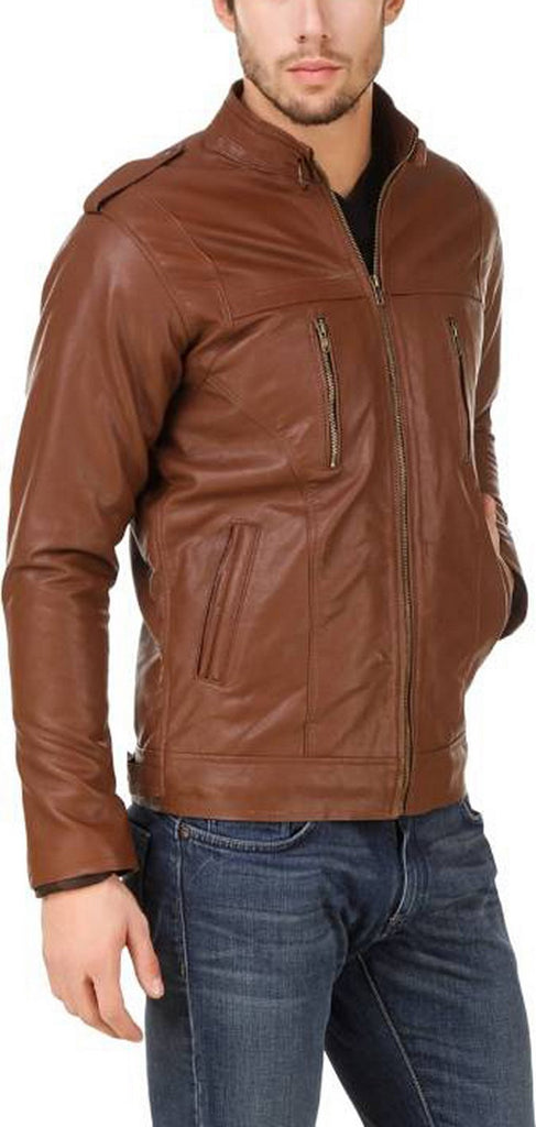 Biker Jacket - Men Real Lambskin Motorcycle Leather Biker Jacket KM540 - Koza Leathers