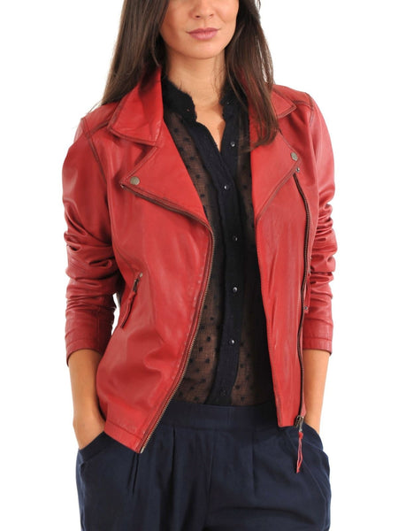 Women Real Lambskin Leather Biker Jacket KW088