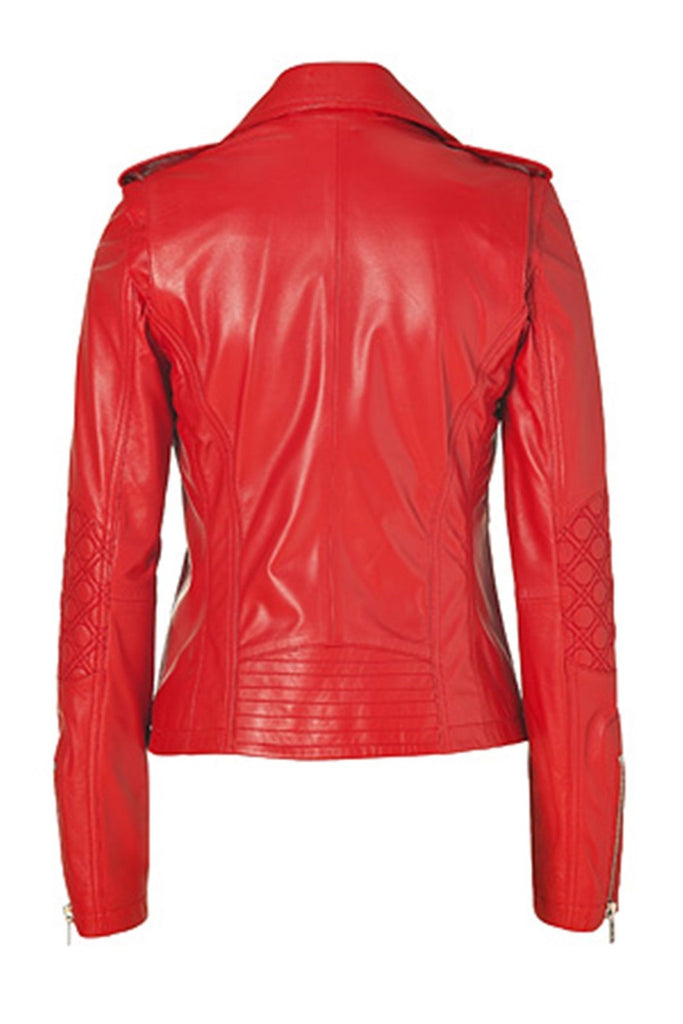 Biker / Motorcycle Jacket - Women Real Lambskin Leather Biker Jacket KW089 - Koza Leathers