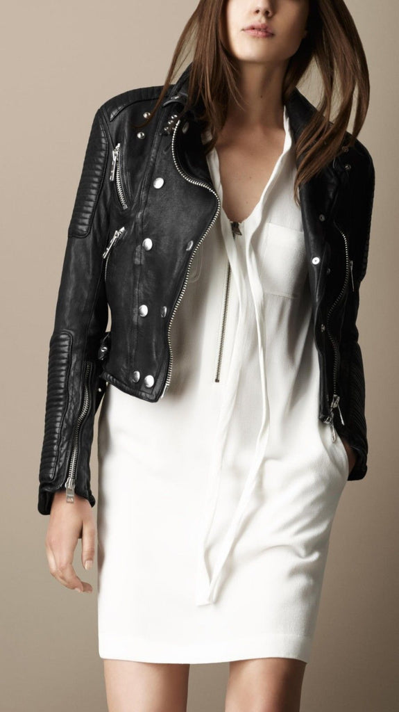 Biker / Motorcycle Jacket - Women Real Lambskin Leather Biker Jacket KW090 - Koza Leathers