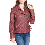 Biker / Motorcycle Jacket - Women Real Lambskin Leather Biker Jacket KW108 - Koza Leathers