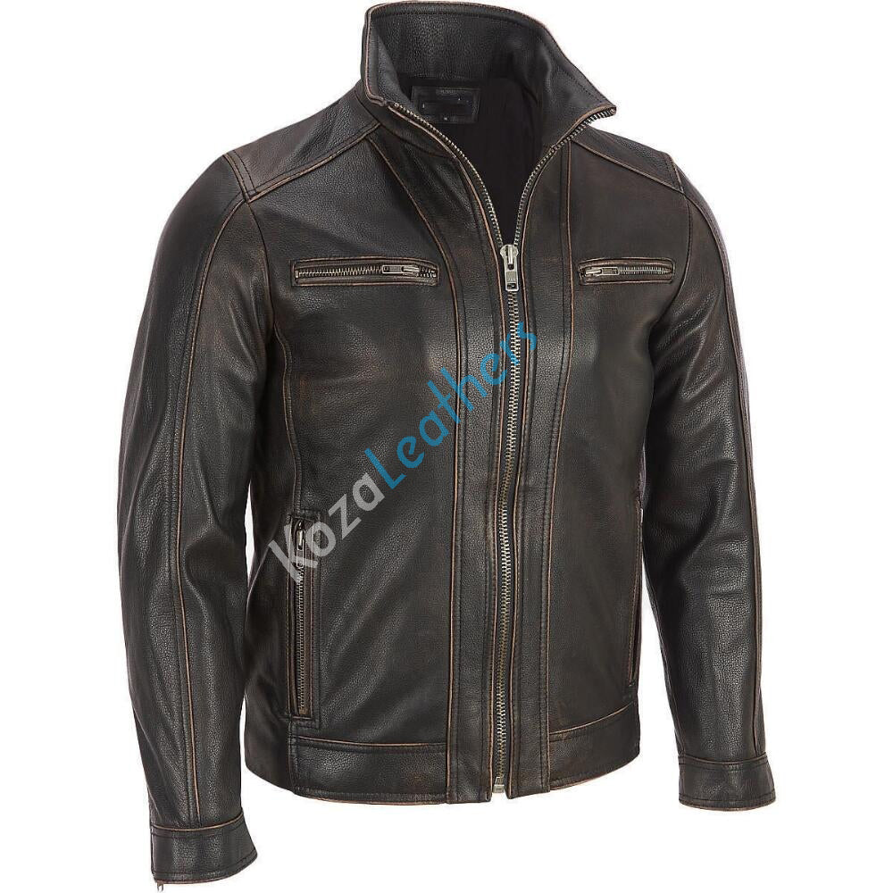 Koza Leathers Men's Genuine Lambskin Bomber Leather Jacket NJ012