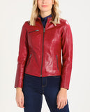 Biker / Motorcycle Jacket - Women Real Lambskin Leather Biker Jacket KW201 - Koza Leathers
